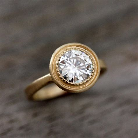 Yellow Gold Halo Engagement Rings Brilliant And by Moissanite Ring Engagement Ring 14k Yellow Gold Halo