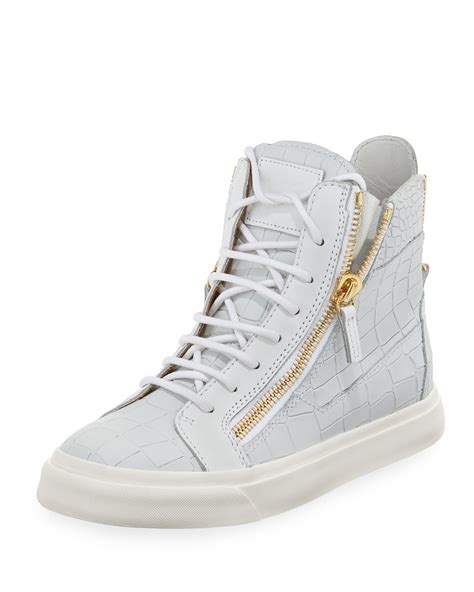 zipper sneakers giuseppe zanotti alligatorembossed zipper hightop sneaker