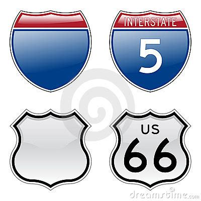interstate and us route 66 signs stock photography image