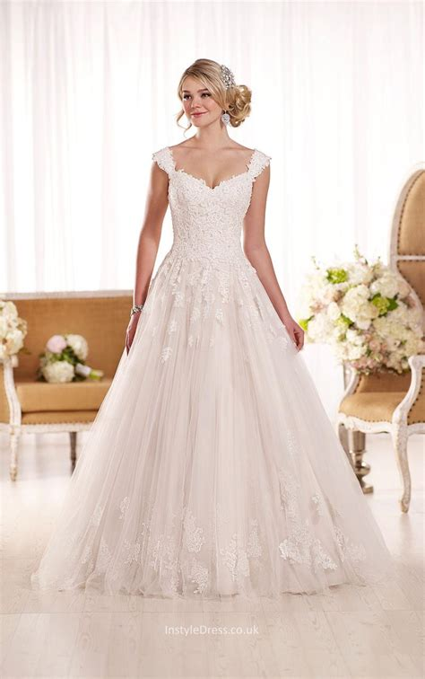 Wedding Dresses Cap Sleeves by Cap Sleeves Floor Length Chapel A Line Lace Wedding