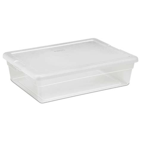 under bed tote 28 quart clear plastic underbed storage tote by sterilite case of 10