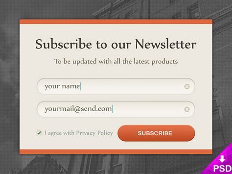 form design psd free download newsletter subscription form design free psd at