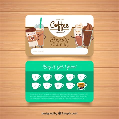 Http Www Freepik Free Vector Coffee Business Card Template 1105489 Htm by Coffee Shop Loyalty Card Template Vector Free