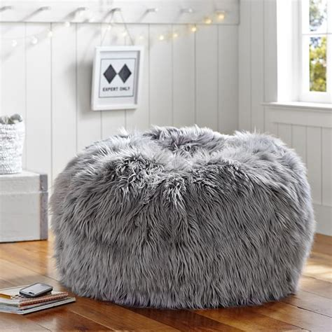 big fluffy bean bag gray fur rific beanbag pbteen