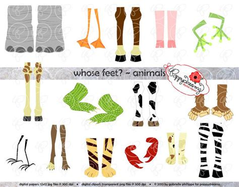 printable animal feet whose feet animal digital clipart pack 300 dpi elephant