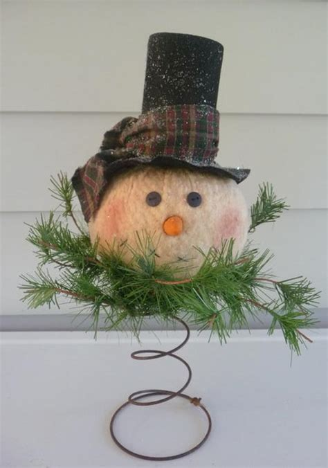 primitive country snowman tree topper primitive snowman nodder makedo tree topper