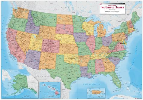 usa political wall map mapscom