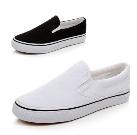 free shipping paintless blank shoes black white canvas