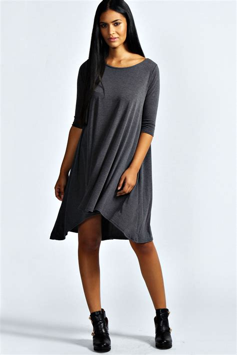 swing clothing boohoo womens ladies annabelle angel sleeve swing dress