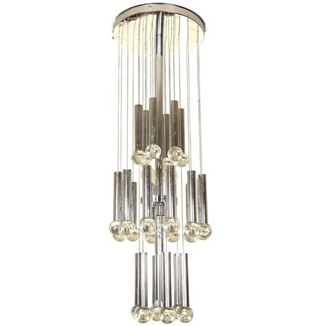 Chrome Chandelier Italian Chrome And Glass Chandelier At 1stdibs