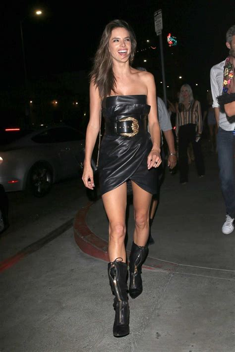alessandra ambrosio wears black leather dress