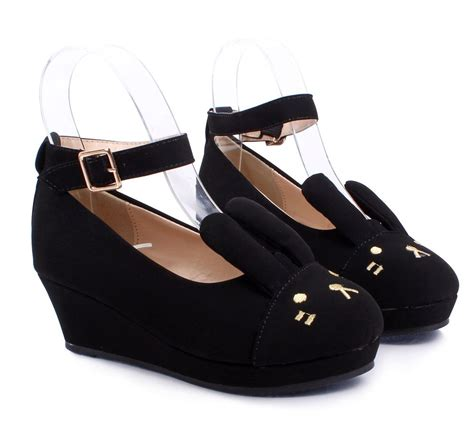 youth high heels black ankle buckle bunny ears wedge