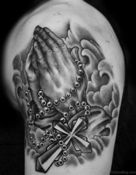praying hands with rosary tattoo 50 outstanding praying tattoos on shoulder