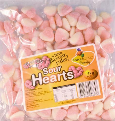 1kg Strawberry Coldfil Flavour Puratos strawberry sour hearts 1kg lollies shindigs au