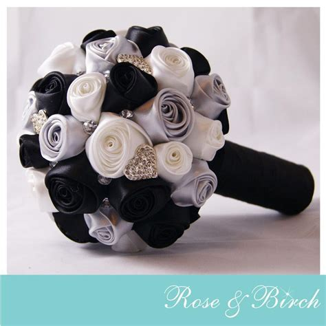 black white silver bridal wedding bouquet satin roses brooches handmade vintage inspired
