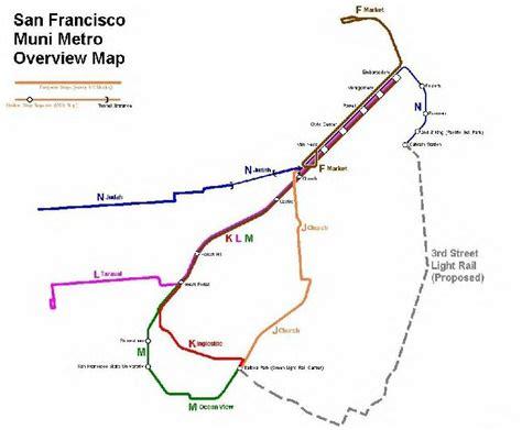 san francisco muni kt line map san francisco muni light rail transit system