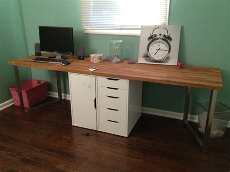 2 Person Home Office Desk Office Makeover Part One Diy Desk Ikea Hack Keeps On Ringing