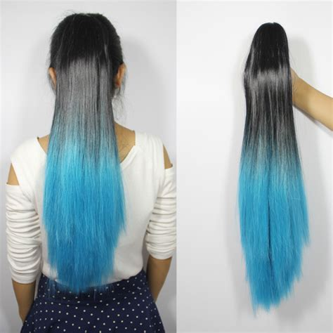 ponytail dip dye colour clip in hair festival two tone 22 quot claw clip in