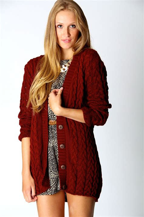 cable knit cardigan womens boohoo womens cable knit sleeve hip