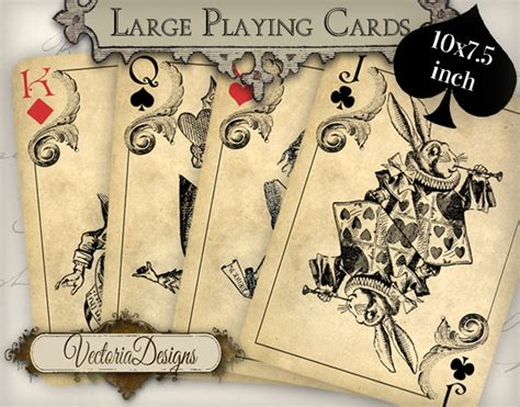 playing card print etsy printable alice in wonderland playing cards wall art printable
