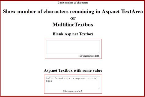 jquery tutorial in asp net c limitation of characters in textbox or textarea