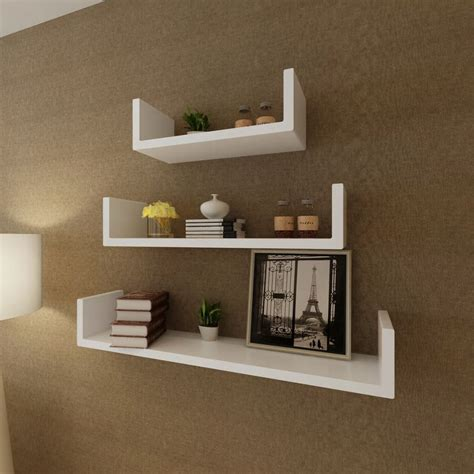 3 white mdf u shaped floating wall display shelves book