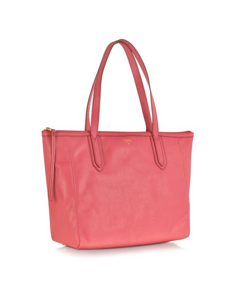 Fossil Me1121 Original Leather lyst fossil sydney shopper in pink