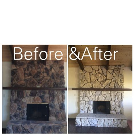 before and after updating a here s an inexpensive way to update an rock fireplace