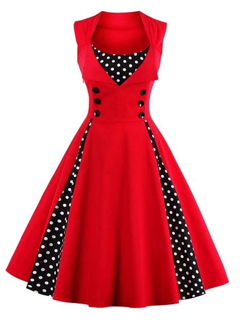 design dress retro vintage dresses red 4xl button embellished polka dot