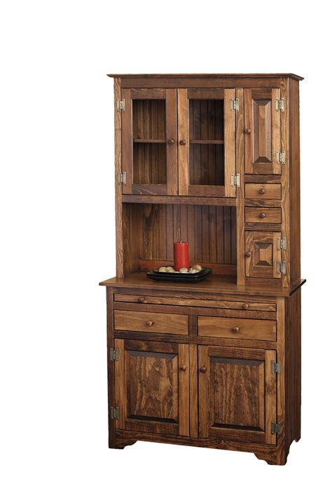 Pantry With Glass Doors by Microwave Hutch Peaceful Valley Amish Furniture