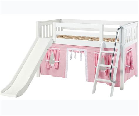 White Bunk Bed With Slide Maxtrix Low Loft Bed White With Slide And Curtains Bed Frames Matrix Furniture