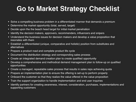 go to market plan template go to market strategy checklist marketing strategies