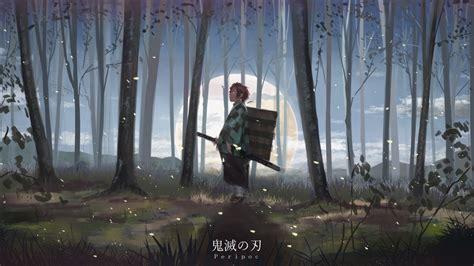 demon slayer tanjiro kamado standing  forest