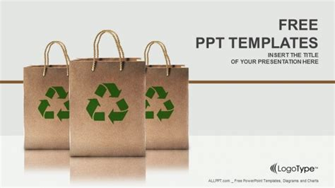 ppt templates free download recycling paper bags with recycle sign powerpoint templates