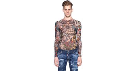 tattoo girl clothing uk dsquared 178 tattoo printed sheer long sleeve t shirt in