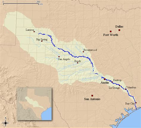 texas watershed map colorado river huh around