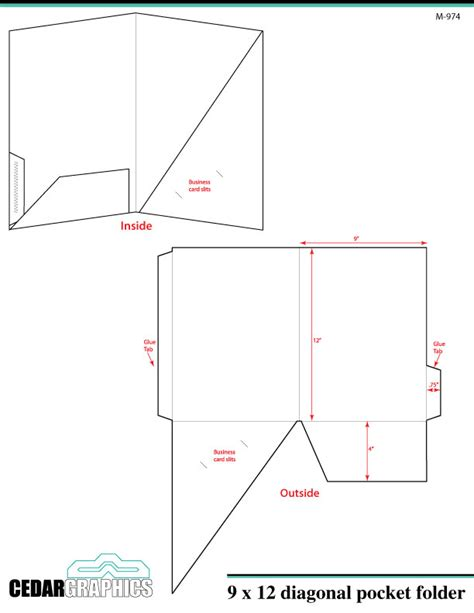 pocket folder template how to plan a 9 x 12 diagonal pocket folder