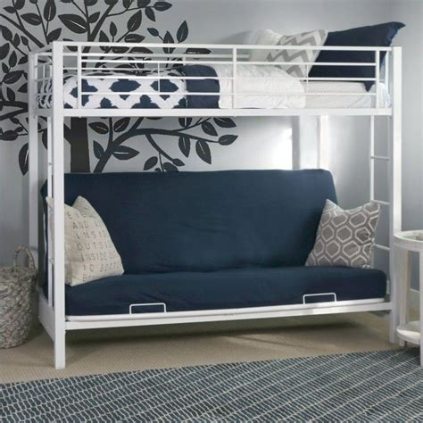 futon bunk bed frame metal twin over futon bunk bed frame in white btofwh