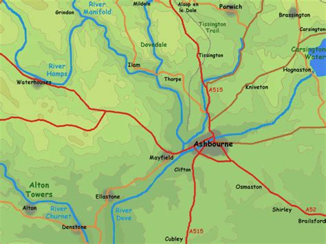 map of and surrounding areas ashbourne area map