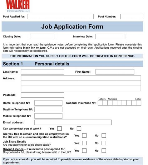 construction employment application template 50 free employment application form templates