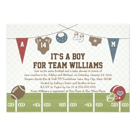 Couples Co Ed Football Baby Shower Invitation Card Football Baby Shower Invitation Template
