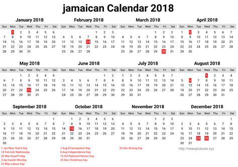 Jamaica Calend 2018 2018 Calendar Jamaica Free Happy New Year 2018