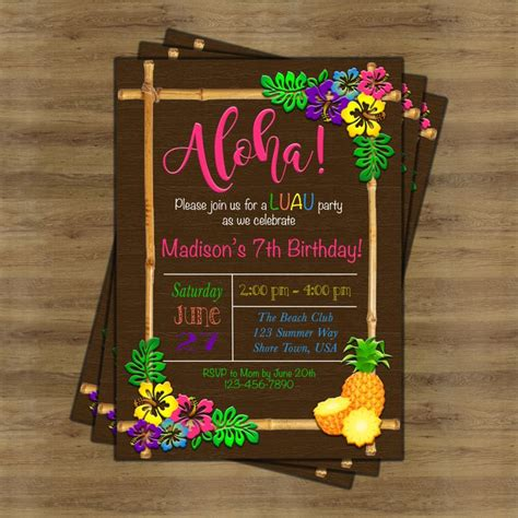 17 best ideas about luau birthday invitations on pinterest