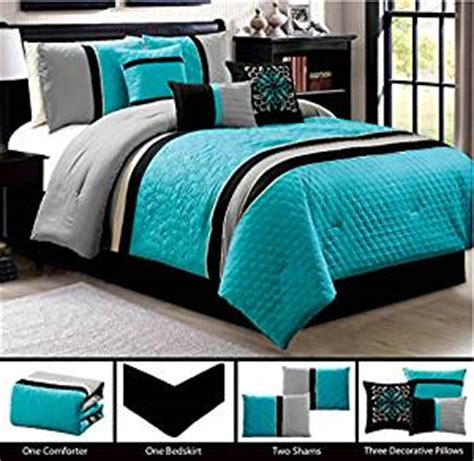 black and turquoise bedding amazon com modern 7 piece queen bedding turquoise blue