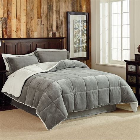 velvet plush 3 piece reversible comforter set king