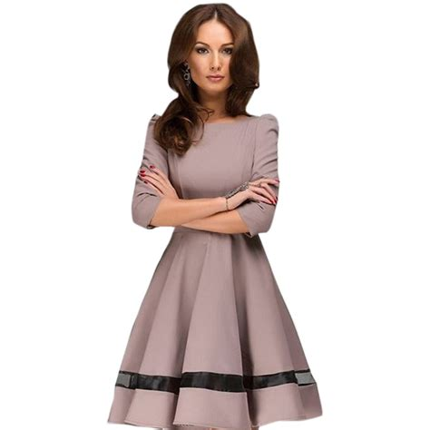 Puff Sleeve Fashion Dress M 17520 fashion dress vintage puff sleeve mini dresses pleated dress o neck