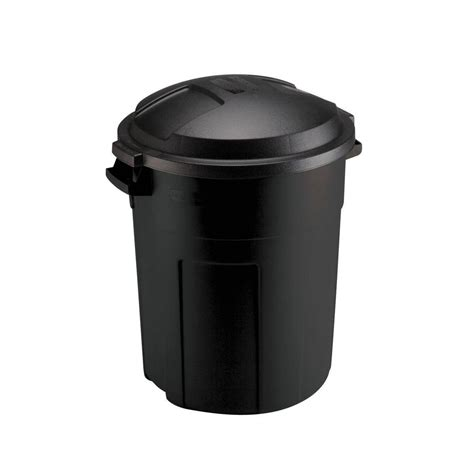 Home Depot Lid by Rubbermaid Roughneck 20 Gal Black Trash Can With