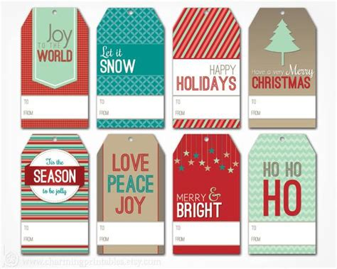 printable christmas gift tags digital  file instant etsy