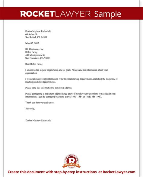 letter template requesting information letter requesting information about an organization