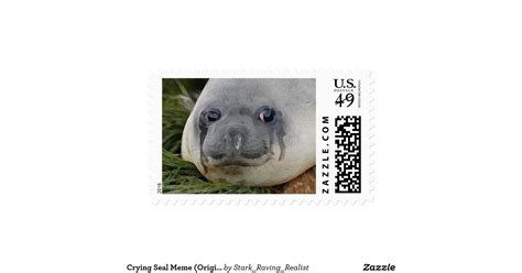 Seal Meme - crying seal meme original art painting postage